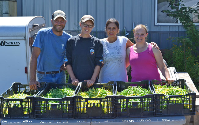 Eric, Rebecca, Linda and Roxanne finished with the bean harvest at We Grow LLC